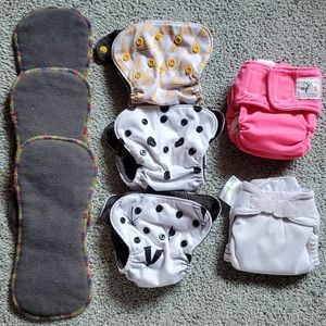Lot of 5 pre loved newborn cloth diapers